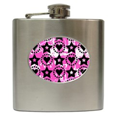 Star And Heart Pattern Hip Flask