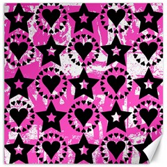 Star And Heart Pattern Canvas 16  X 16  (unframed)