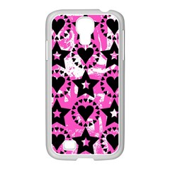 Star And Heart Pattern Samsung Galaxy S4 I9500/ I9505 Case (white)