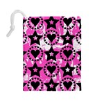 Star And Heart Pattern Drawstring Pouch (Large) Back