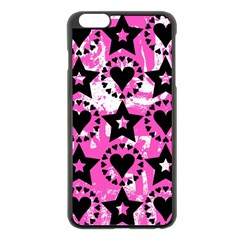 Star And Heart Pattern Apple Iphone 6 Plus Black Enamel Case