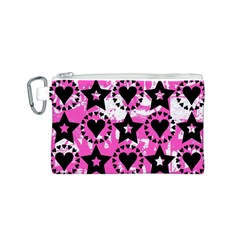Star And Heart Pattern Canvas Cosmetic Bag (Small)