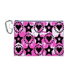 Star And Heart Pattern Canvas Cosmetic Bag (Medium)