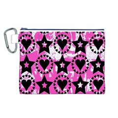Star And Heart Pattern Canvas Cosmetic Bag (Large)