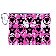 Star And Heart Pattern Canvas Cosmetic Bag (XL)
