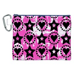 Star And Heart Pattern Canvas Cosmetic Bag (XXL)
