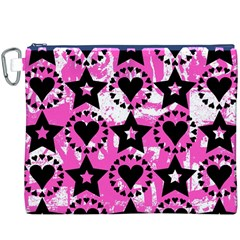 Star And Heart Pattern Canvas Cosmetic Bag (XXXL)