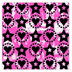 Star And Heart Pattern Large Satin Scarf (Square)