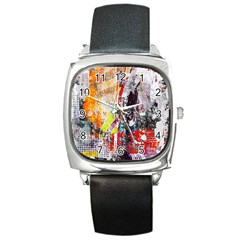 Abstract Graffiti Square Leather Watch