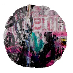 Graffiti Grunge Love Large 18  Premium Flano Round Cushion