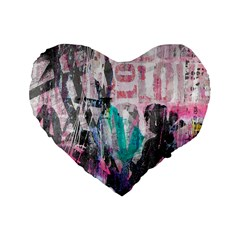 Graffiti Grunge Love Standard 16  Premium Flano Heart Shape Cushion
