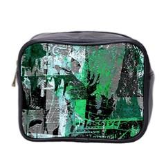 Green Urban Graffiti Mini Travel Toiletry Bag (two Sides)