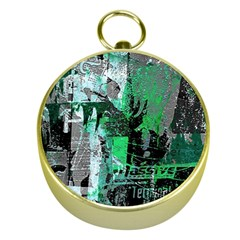 Green Urban Graffiti Gold Compass