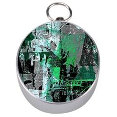 Green Urban Graffiti Silver Compass