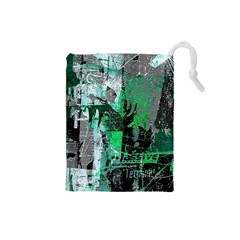 Green Urban Graffiti Drawstring Pouch (Small)