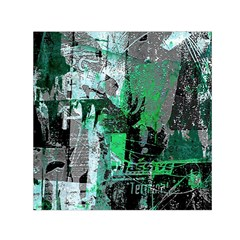 Green Urban Graffiti Small Satin Scarf (Square)