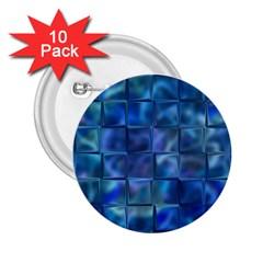 Blue Squares Tiles 2 25  Button (10 Pack)