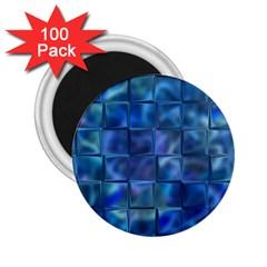 Blue Squares Tiles 2 25  Button Magnet (100 Pack)