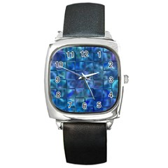 Blue Squares Tiles Square Leather Watch