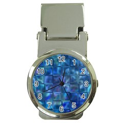 Blue Squares Tiles Money Clip With Watch