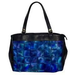 Blue Squares Tiles Oversize Office Handbag (one Side)