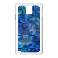 Blue Squares Tiles Samsung Galaxy Note 3 N9005 Case (White)