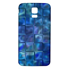 Blue Squares Tiles Samsung Galaxy S5 Back Case (White)