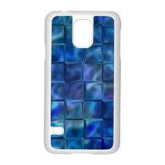 Blue Squares Tiles Samsung Galaxy S5 Case (White)