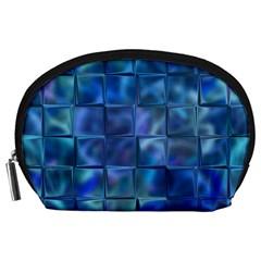 Blue Squares Tiles Accessory Pouch (Large)