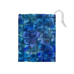 Blue Squares Tiles Drawstring Pouch (Medium)