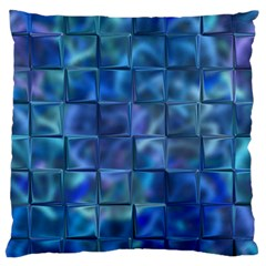 Blue Squares Tiles Large Flano Cushion Case (Two Sides)