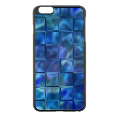 Blue Squares Tiles Apple iPhone 6 Plus Black Enamel Case