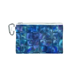 Blue Squares Tiles Canvas Cosmetic Bag (Small)
