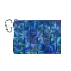 Blue Squares Tiles Canvas Cosmetic Bag (Medium)