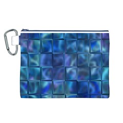 Blue Squares Tiles Canvas Cosmetic Bag (Large)