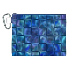 Blue Squares Tiles Canvas Cosmetic Bag (XXL)