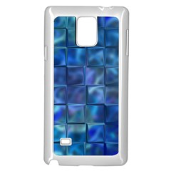 Blue Squares Tiles Samsung Galaxy Note 4 Case (white)