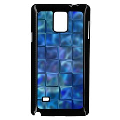 Blue Squares Tiles Samsung Galaxy Note 4 Case (Black)