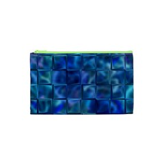 Blue Squares Tiles Cosmetic Bag (XS)