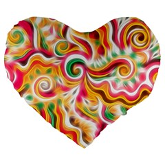 Sunshine Swirls Large 19  Premium Flano Heart Shape Cushion