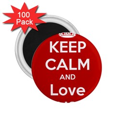 Keep Calm And Love Music 5739 2 25  Button Magnet (100 Pack)
