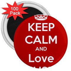 Keep Calm And Love Music 5739 3  Button Magnet (100 Pack)