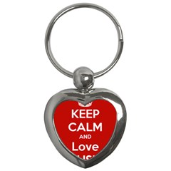 Keep Calm And Love Music 5739 Key Chain (heart)
