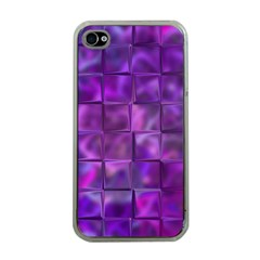 Purple Squares Apple Iphone 4 Case (clear)