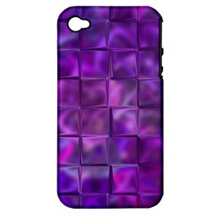 Purple Squares Apple Iphone 4/4s Hardshell Case (pc+silicone)