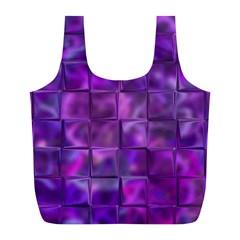 Purple Squares Reusable Bag (l)