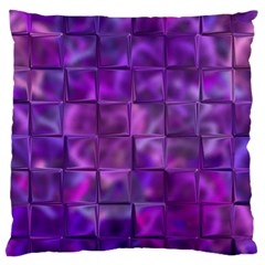 Purple Squares Large Flano Cushion Case (Two Sides)