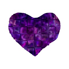 Purple Squares Standard 16  Premium Flano Heart Shape Cushion