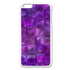 Purple Squares Apple iPhone 6 Plus Enamel White Case
