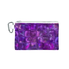 Purple Squares Canvas Cosmetic Bag (Small)
